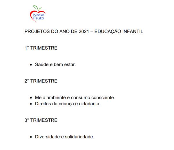 Calendário Projetos 2021 - Ed Infantil